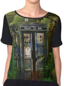 Abandoned time and space traveller Blue Phone Box Chiffon Top
