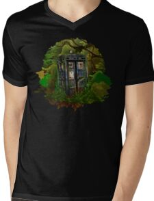 Abandoned time and space traveller Blue Phone Box Mens V-Neck T-Shirt