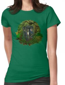 Abandoned time and space traveller Blue Phone Box Womens Fitted T-Shirt