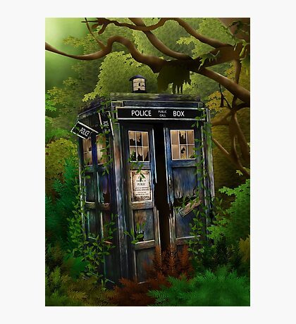 Abandoned time and space traveller Blue Phone Box Photographic Print