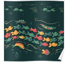 A Stream With Bright Fish Poster