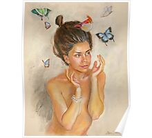 Girl with butterflies Poster