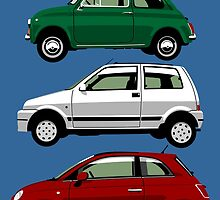 Evolution of the Fiat 500 by car2oonz