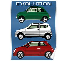 Evolution of the Fiat 500 Poster