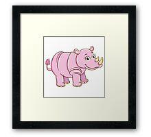 Cute cartoon rhino Framed Print
