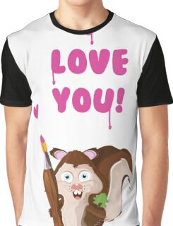 I love you cartoon Squirrel Graphic T-Shirt