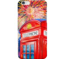 British Celebration With Fireworks - Red Telephone Box iPhone Case/Skin