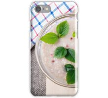 Oatmeal with chocolate candy and a silver spoon iPhone Case/Skin