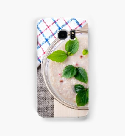 Oatmeal with chocolate candy and a silver spoon Samsung Galaxy Case/Skin