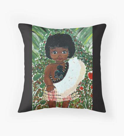 Maori Girl Throw Pillow