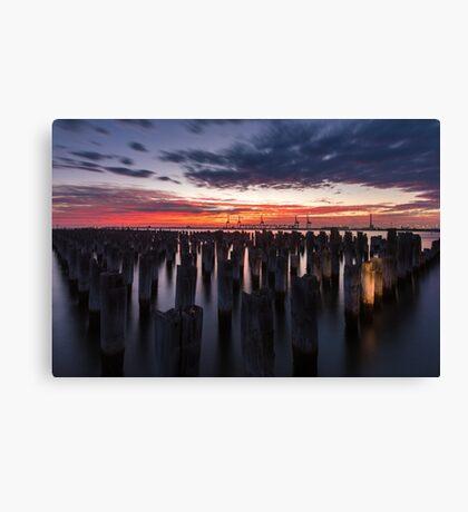 Sky Fire, Princes Pier, Port Melbourne Canvas Print