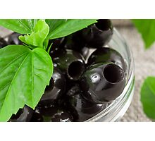 Black olives, pitted marinated in a glass bowl Photographic Print