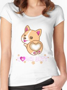 Corgi Butt Dog Breed Cute Pink Paw Prints Gift Women's Fitted Scoop T-Shirt