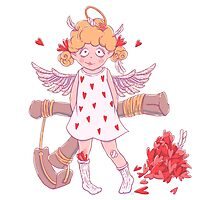 Valentine's day. Naughty cute curly Cupid-girl with slingshot  Photographic Print