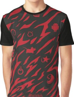 Camouflage Muster mit Linux Logos in rot/schwarz Graphic T-Shirt