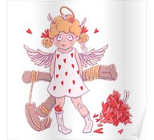 Valentine's day. Naughty cute curly Cupid-girl with slingshot  Poster