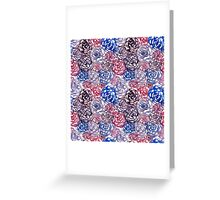 Pink & Blue Flowers - Floral Pattern Greeting Card