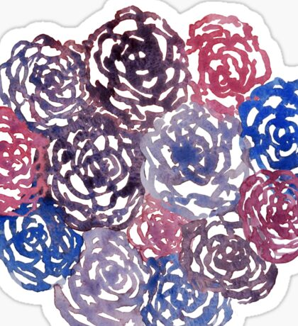 Pink & Blue Flowers - Floral Pattern Sticker
