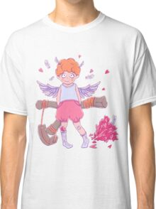 Valentine's day. Naughty cute curly Cupid-boy with slingshot Classic T-Shirt