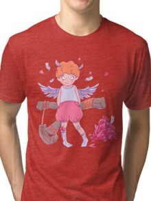 Valentine's day. Naughty cute curly Cupid-boy with slingshot Tri-blend T-Shirt