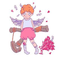 Valentine's day. Naughty cute curly Cupid-boy with slingshot Photographic Print