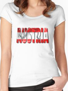Austria Word 3D Illustration With Flag Texture Women's Fitted Scoop T-Shirt