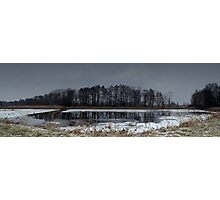 Winter landscape. The forest and the lake in snow. Evening time. Panorama photo Photographic Print
