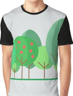Vector illustration: Simple modern trees of different shape. Flat design Graphic T-Shirt