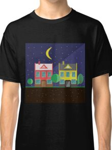 Vector illustration: colorful houses at night. Suburbs landscape. Flat design. Tenement houses Classic T-Shirt