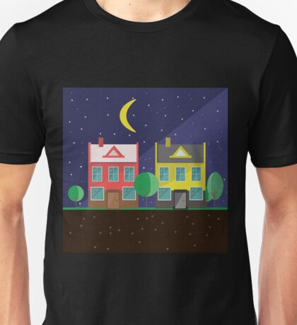 Vector illustration: colorful houses at night. Suburbs landscape. Flat design. Tenement houses Unisex T-Shirt