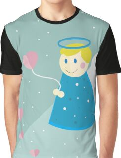 Vector illustration: simple flat angel design. Valentine's day. Cupid illustration. Design for children Graphic T-Shirt