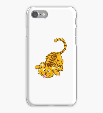 Funny playing cartoon tiger iPhone Case/Skin