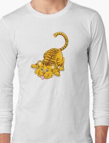 Funny playing cartoon tiger Long Sleeve T-Shirt