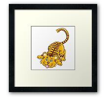 Funny playing cartoon tiger Framed Print
