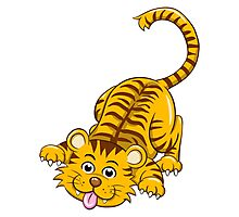 Funny playing cartoon tiger Photographic Print