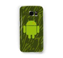 Android Logo mit grünem Camouflagemuster 1 Samsung Galaxy Case/Skin
