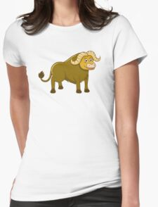 Happy cartoon buffalo Womens Fitted T-Shirt