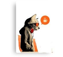 cool cat want coffee Canvas Print