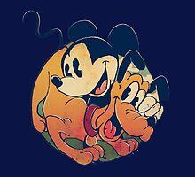 Mickey and Pluto by Christi Lu