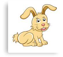 Funny yellow cartoon rabbit Canvas Print