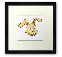 Head of funny yellow cartoon rabbit Framed Print