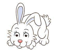 Cute white cartoon rabbit Photographic Print