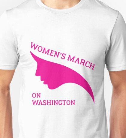 Womens March On Washington 2017 Pink Face Silhouette Unisex T-Shirt