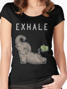 Elephant exhale funny shirt Women's Fitted Scoop T-Shirt