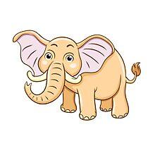 Cute yellow cartoon elephant Photographic Print