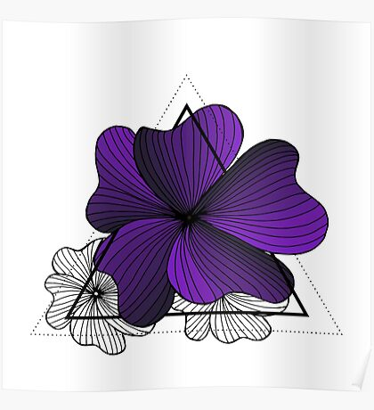 violet flowers in triangle Poster