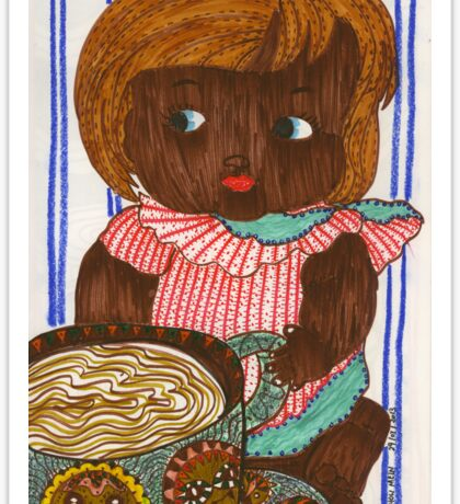 African Doll Drinking Coffee Sticker