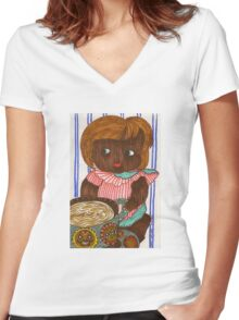 African Doll Drinking Coffee Women's Fitted V-Neck T-Shirt