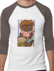 African Doll Drinking Coffee Men's Baseball ¾ T-Shirt