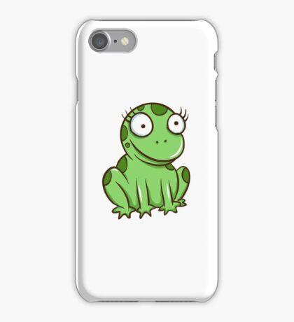 Funny green cartoon frog iPhone Case/Skin